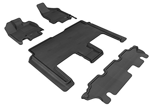 3D MAXpider Complete Set Custom Fit All-Weather Floor Mat for Select Dodge Grand Caravan Models - Kagu Rubber (Black)