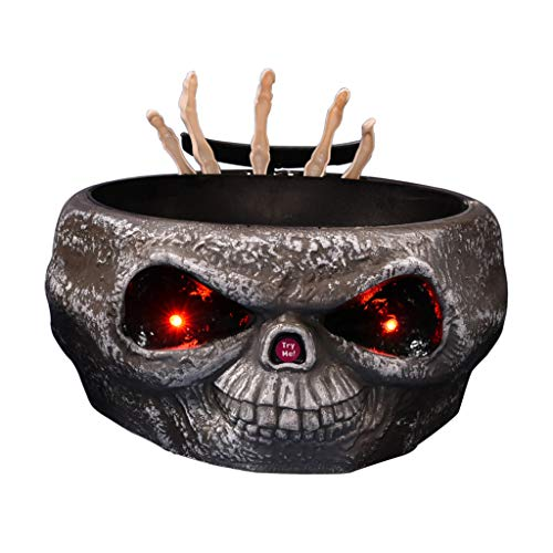 Unionm Halloween Electric Induction Stretching Claw Fruit Dish Candy Bowl - with Moving Skeleton Hand, Light Up Eyes, Monster Sound Effects - Frighten Your Friends and Children ()