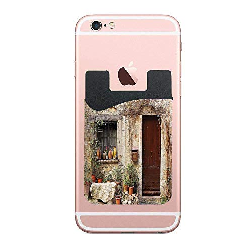 CardlyPhCardH Flowerpot Plants in Front Yard French Hilltop Village Saint-Paul De Vence Heritage Phone Pocket,Cell Phone Stick On Card Wallet,Credit Cards/ID and All Smartphones 2 PCS