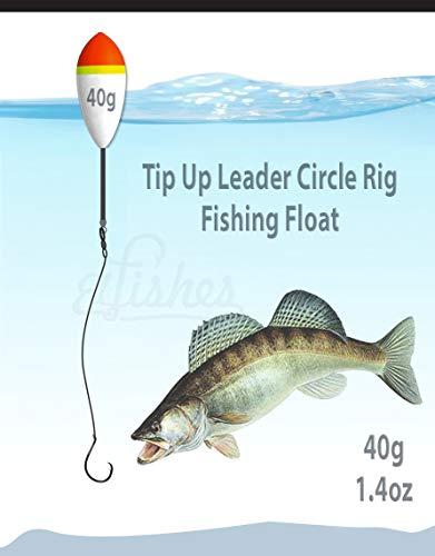 40g Running Float 1.4oz Fishing Tip Up Leader Circle Hook #1/0 Steel Rig 12