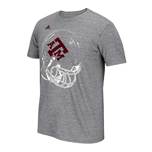 adidas Texas A&M Aggies NCAA Men's Grey Fanatical Mascot Helmet Front Climalite Performance T-Shirt (Large)