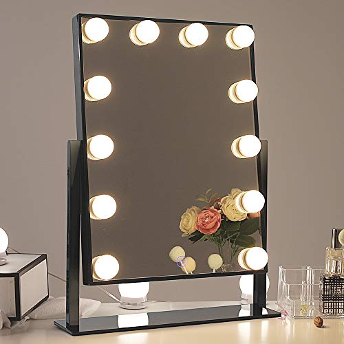 Chende Glossy Black Lighted Vanity Mirror with Dimmable LED Bulbs, Hollywood Style Makeup Mirror with Lights for Touch Control Design, 3 Different Lighting Settings (4030 Black)