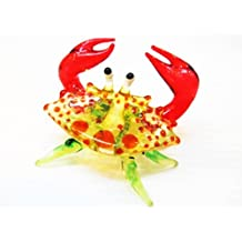 Handcrafted MINIATURE HAND BLOWN GLASS Small Orange Crab FIGURINE Collection