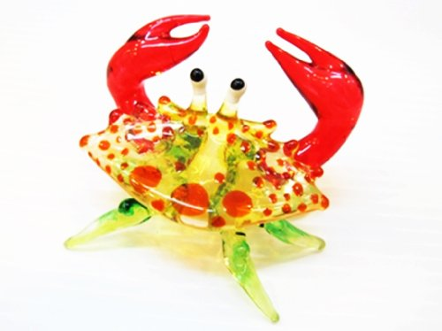 ChangThai Design Handcrafted Miniature Hand Blown Glass Small Orange Crab Figurine Collection
