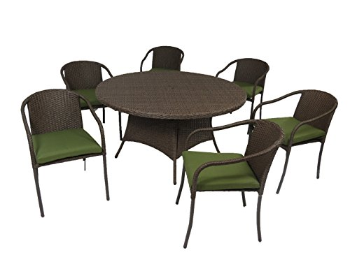 "Creative Living  Boli 7 PC 56"" Outdoor Patio Wicker Round Dining Set with Stacking Chairs, Ribbed Verde - Set includes 1 table and 6 arm chairs Table : 29.13'' H x 56'' W x 56'' L  and Chair : 31.5'' H x 22.83'' W x 26.83'' D 100% handmade Buckeye Wicker - patio-furniture, dining-sets-patio-funiture, patio - 41FstlaKZsL -"