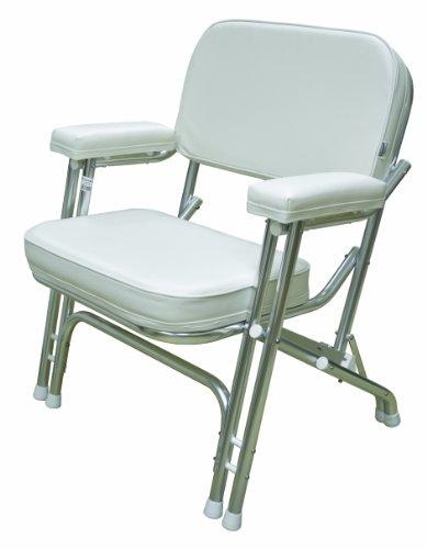 Wise Folding Deck Chair  Aluminum Frame, White
