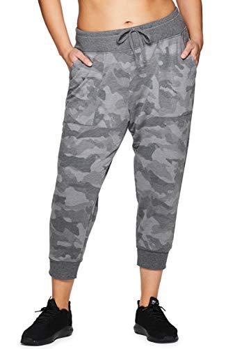 RBX Active Women's Plus Size Camo Print Jogger Capri Pant Camo Grey 2X