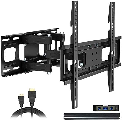 Full Motion TV Wall Mount with Height Setting, JUSTSTONE TV Bracket Fits Most 27-65 Inch LED Flat Curved TVs,Articulating Swivel Tilt Dual Arms Extension Max VESA 400x400mm and Holds up to 121 LBS