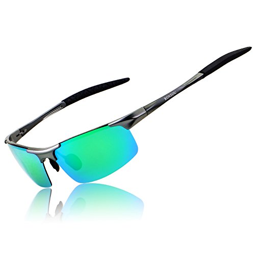 Ronsou Men Sport Al-Mg Polarized Sunglasses Unbreakable For Driving Cycling Fishing Golf gray frame/green (Casual Mens Sunglasses)