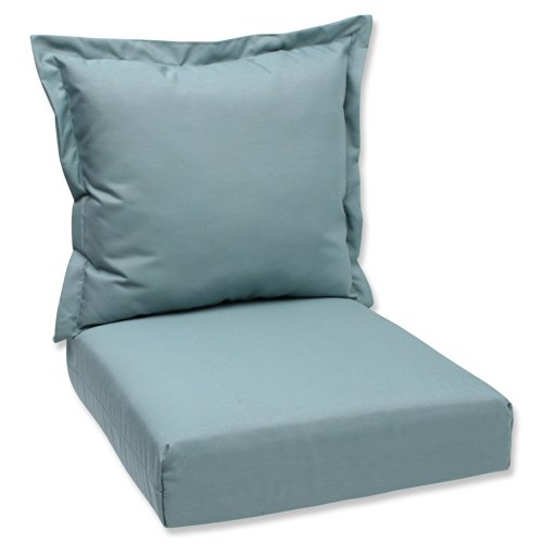 Pillow Perfect Sunbrella Canvas Indoor/Outdoor Deep Seating Cushion Set, Spa