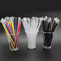 Individually Wrapped,100 Pack 9 Inch Long - Black or White Colored Drinking Straws for Boba Bubble Tea, Milkshakes…