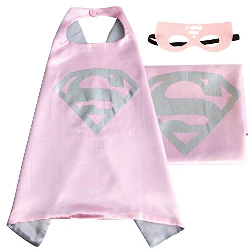 Superhero or Princess CAPE & MASK SET Kids Childrens Halloween Costume (Pink & Gray (Supergirl)) (Supergirl Halloween)