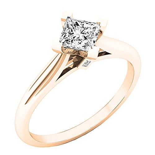 Dazzlingrock Collection 0.55 Carat (ctw) 18K Princess Diamond Ladies Solitaire Semi Mount Ring, Rose Gold, Size 8