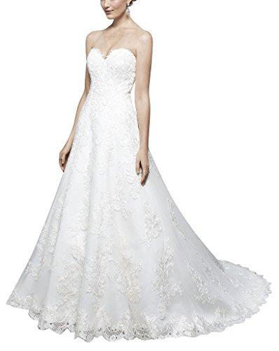 Hochzeitskleider Brautkleider Weiß Nettes BRIDE A Applikationen Vertraeumte Schatzausschnitt GEORGE Linie mit aFpqZ