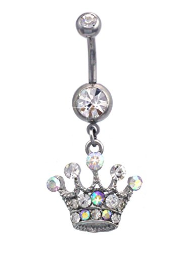 cocojewelry Princess Crown Tiara Charm Dangle Navel Belly Ring Body Piercing Jewelry (Clear) ()