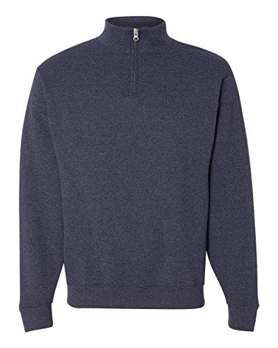 Jerzees 995 Adult NuBlend 1 By 4-Zip Cadet Collar Sweatshirt - Vintage Heather Navy, Large