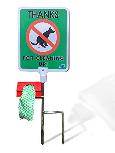 No Poop Dog Signs Poop Bag Dispenser | Stop Dogs from Pooping On Your Lawn | Sign Reads: Thanks For Cleaning Up | Protect Property | No Poo | No ()