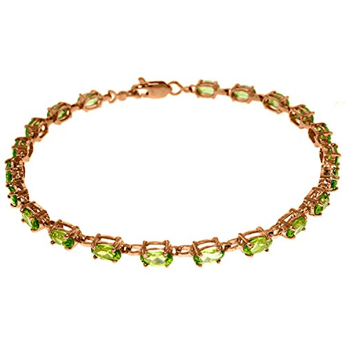 Green Rose Gold Bracelet (14K Solid Rose Gold Tennis Bracelet with Peridots)