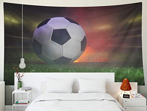 Yecationy Dorm Tapestry, Tapestry Psychedelic Tapestry 80x60 Inch Traditional Soccer Ball Field Close Up View Football Green Grass Stadium Tapestry Wall Hanging Living Room Decoration Tapestries
