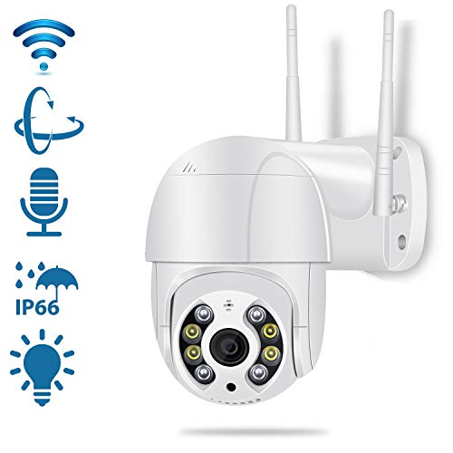 Pan Tilt Outdoor Security Camera,1080P Home WiFi IP Camera, Pan Tilt Dome Surveillance Cam, Two Way Audio Motion Detection 196ft Night Vision Onvif Waterproof CCTV Camera (Color: White)