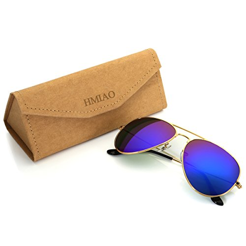 Aviator Sunglasses Polarized for Men Women,Flash Mirror Lens UV400 Sunglasses Eyewear with Sun Glasses Case (Blue/Gold Frame, - Blue Aviators Flash