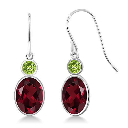 Gem Stone King 3.04 Ct Oval Red Rhodolite Garnet Green Peridot 14K White Gold Earrings