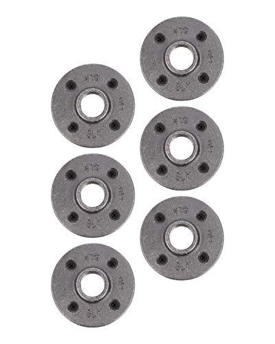 """Pipe Decor 1/2"""" Malleable Cast Iron Floor Flange 6 Pack, Industrial Steel Grey Fits Standard Half Inch Threaded Black Pipes and Fittings, Build Vintage DIY Furniture Shelving, Six Plumbing Flanges"""