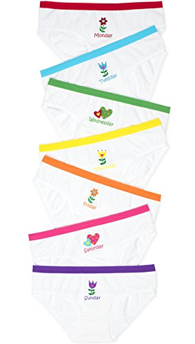 Girls Bikini Briefs (Lucky & Me Mia Girls Underwear, 7 Pack, Days of the Week Labels, Tagless, Flower 7/8)