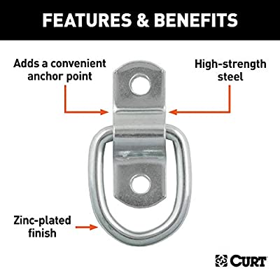 CURT 83730 1-Inch x 1-1/4-Inch Surface-Mounted D-Ring Tie Down Anchor, 1,200 lbs. Break Strength: Automotive