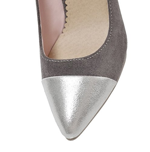 Odomolor Women's Soft Material High-Heels Pull-On Assorted Color Court Shoes Gray clfwh9RZk8