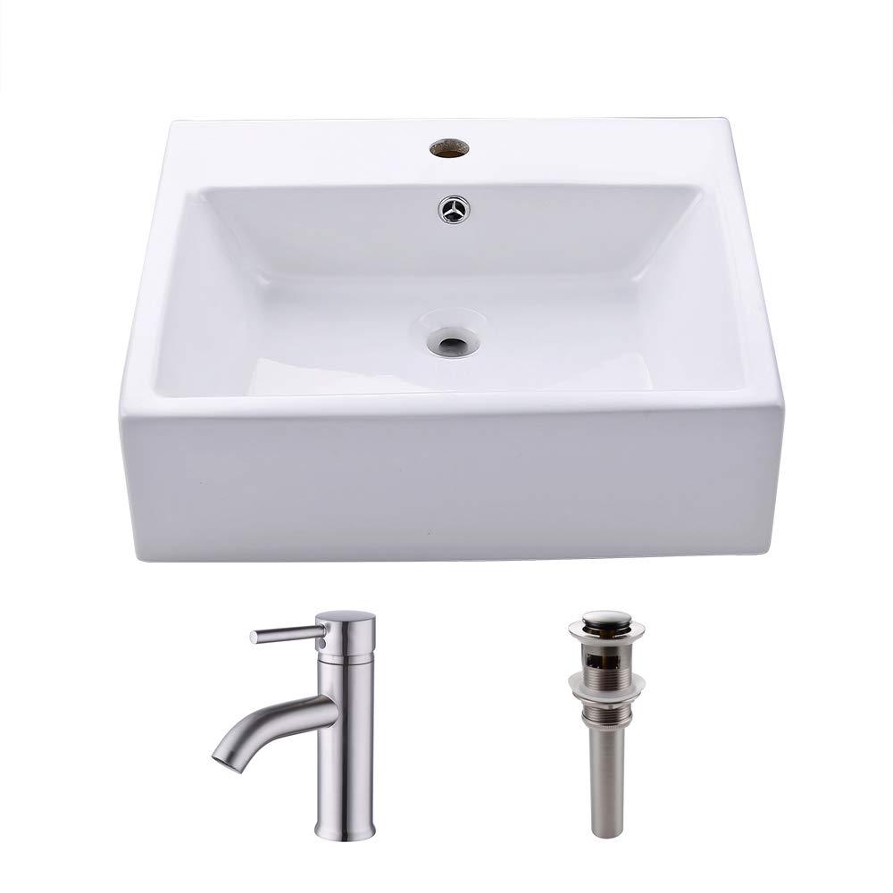 KES cUPC Bathroom White Rectangular Vessel Sink Above Counter Countertop Porcelain Bowl Sink for Lavatory Vanity Cabinet Contemporary BVS110