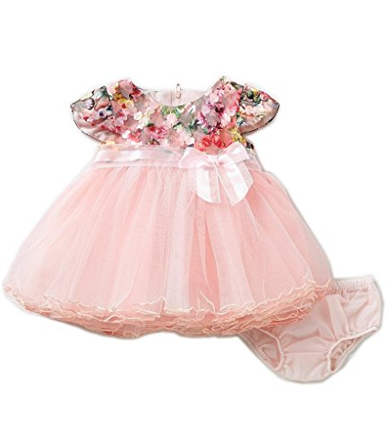 Bonnie Baby Baby Girls Floral Bonded Lace Tulle Skirt Dress - Baby Girl Party Dress (18 Months, Pink) ()
