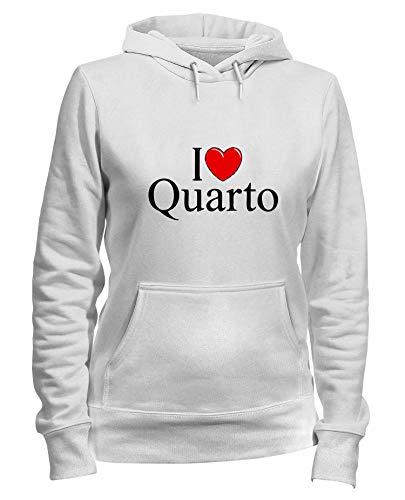 Bianca T Cappuccio Felpa QUARTO LOVE HEART Donna Shirtshock TLOVE0047 I UITIq1r