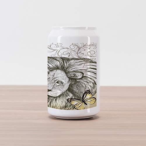 Lunarable Safari Cola Can Shape Piggy Bank, Lion Mane Butterfly Ornamental Vintage Artwork Wild Sketchy Style Design Print, Ceramic Cola Shaped Coin Box Money Bank for Cash Saving, Brown Sepia