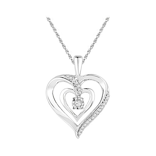(10k White Gold Round Diamond Moving Dancing Rhythm Twinkle Solitaire Heart Pendant (1/10)