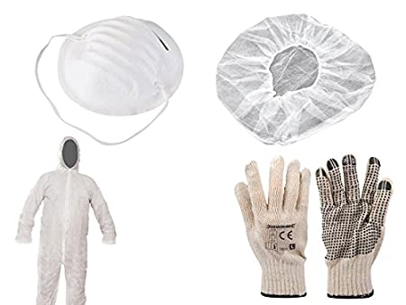 Protection Clothing Set, 12 Pieces, painting suit Gloves Hair Net