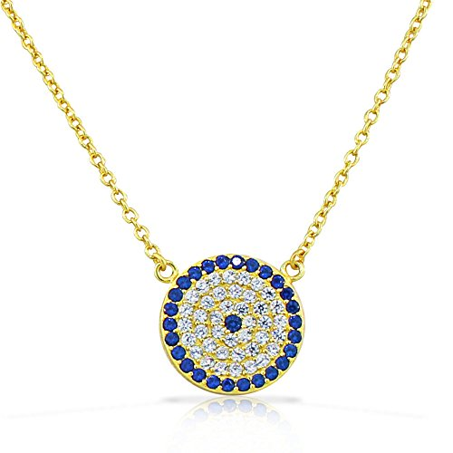 My Daily Styles 925 Sterling Silver Evil Eye Hamsa White Blue CZ Pendant Necklace