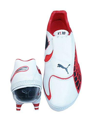 Puma V1.10 K SG Herren-Leder-Fußballschuhe Weiß