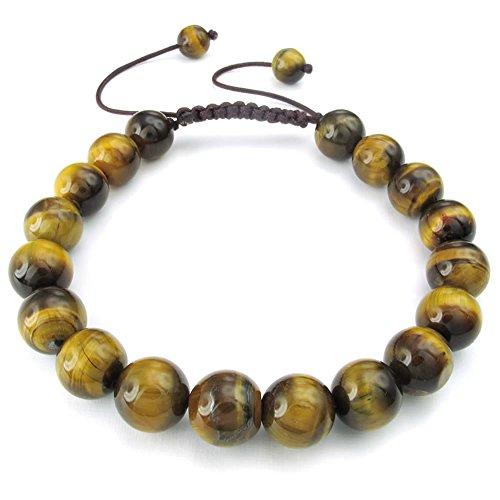 KONOV Mens Womens Natural Gemstone Crystal Tiger Eye Bracelet, 7-9 inch Adjustable, Brown Yellow