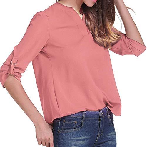 Haut Sweatshirt Subfamily Tops Rouge col en Top Chemisier Longues Chemise Manches Femme V qpnxwAfqH