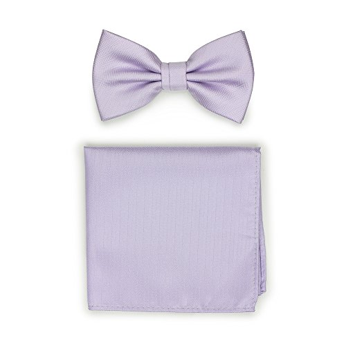 - Bows-N-Ties Men's Solid Pre-Tied Bow Tie and Pocket Square Set Matte Herringbone Finish (Sweet Lavender)
