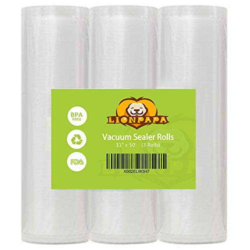 Vacuum Sealer Bags Rolls 11″ x 50′ for FoodSaver and Seal A Meal-BPA Free, 3 Rolls