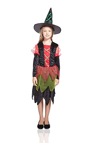 Kids Girls Evil Witch Costume Sorceress Enchantress Halloween Outfit & Dress Up (3-6 years, Black, Red, Green) (Historical Halloween Costume Ideas)