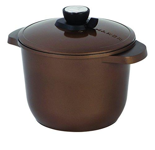 MAKER Homeware 4.5 QT Cast Aluminum Multi-Purpose Pot with Nonstick Ceramic Coating, Bronze ()
