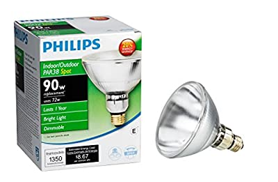 Philips 419382 Halogen PAR38 90 Watt Equivalent Dimmable Spot Standard Base Light Bulb (E26 base)