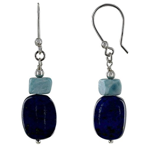 - Les Poulettes Jewels - Sterling Silver Earrings Lapis Lazuli Pebble and Nugget of Larimar