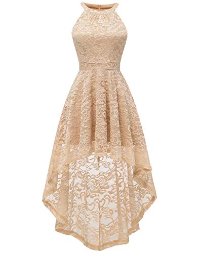 BeryLove Women's Halter Hi-Lo Floral Lace Cocktail Dress Sleeveless Bridesmaid Formal Swing Dress BLP7028ChampagneXS