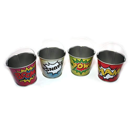 Sunflower Day Superhero Party Supplies - Mini Metal Superhero Buckets Set of 4 Super Bucket
