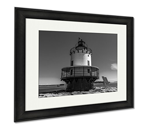Ashley Framed Prints Spring Point Ledge Light Is A Sparkplug Lighthouse In South Portland Maine That, Modern Room Accent Piece, Black/White, 34x40 (frame size), Black Frame, - Shop Portland Frame South Maine