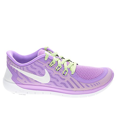 NIKE Girl's Free 5.0 Running Shoe (GS) Fuchsia Glow/Black/Volt/White Size 5.5 M US by NIKE